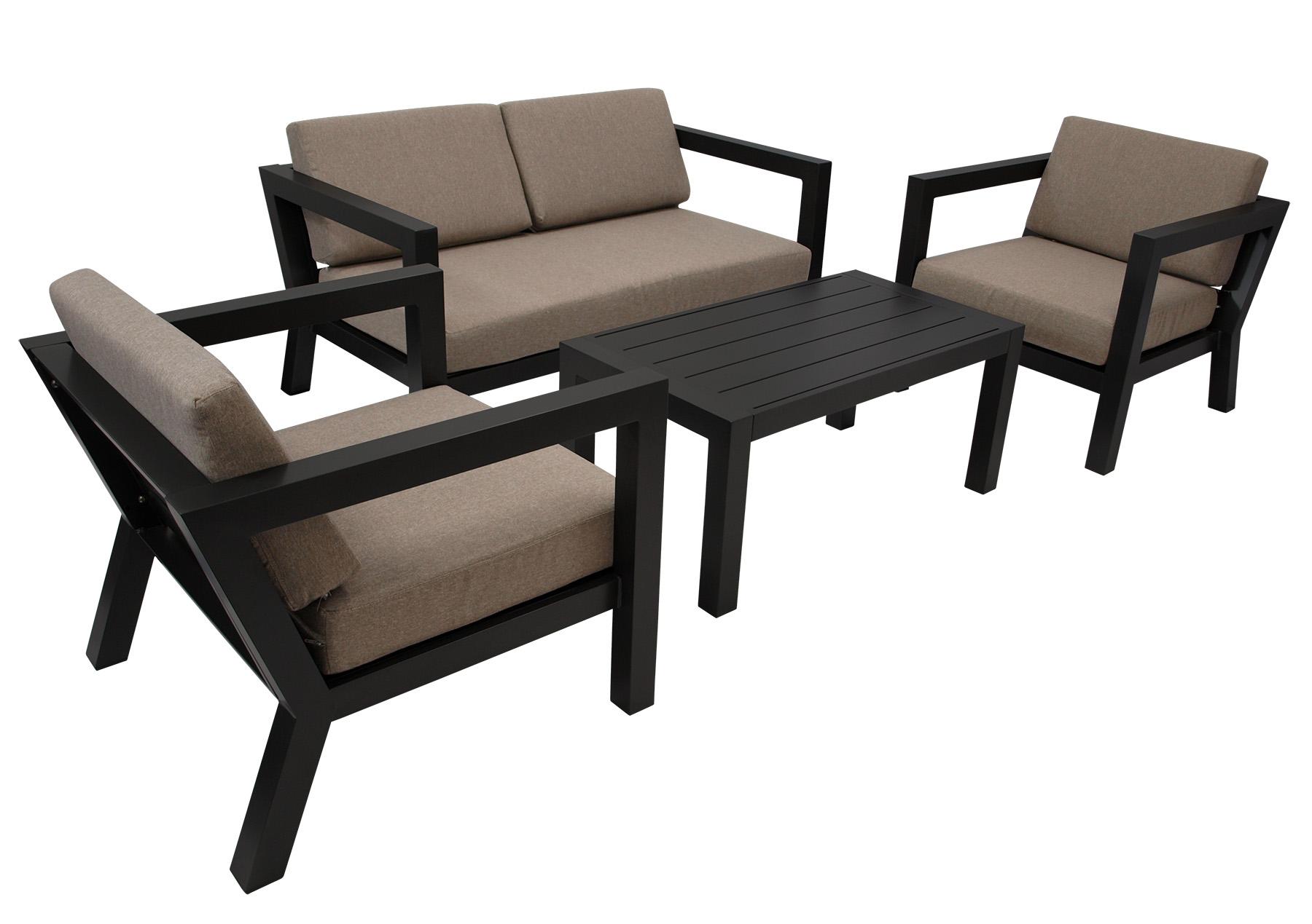 Lounge Set  GOA, Aluminium grau, Polster taupefaben