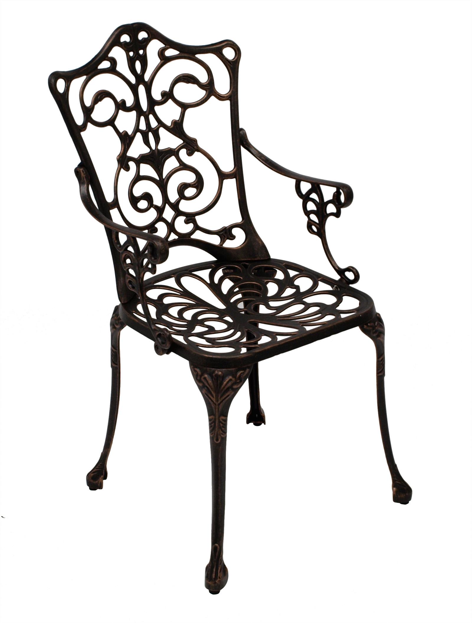 Bistroset Jugendstil 3-teilig, Aluguss bronze antik