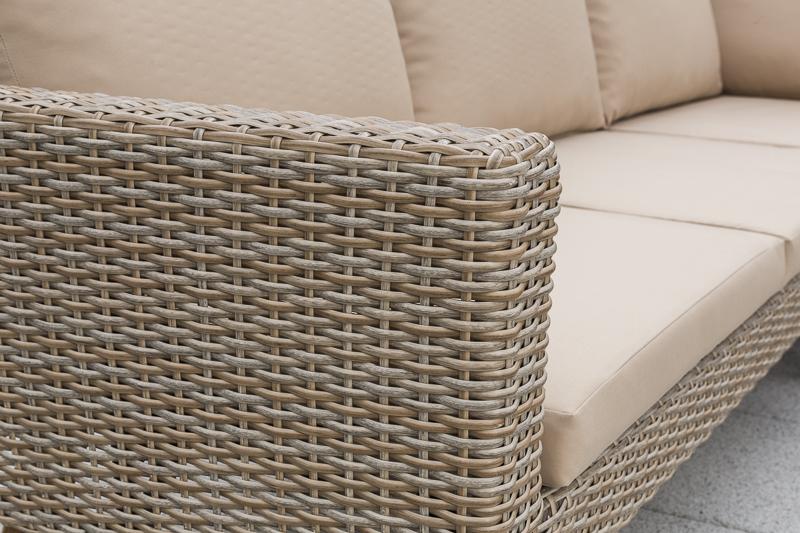 Lounge Set PAMPLONA im Retro Design, Alu + Polyrattan natur, Gestell Akazie, FSC®-zertifiziert