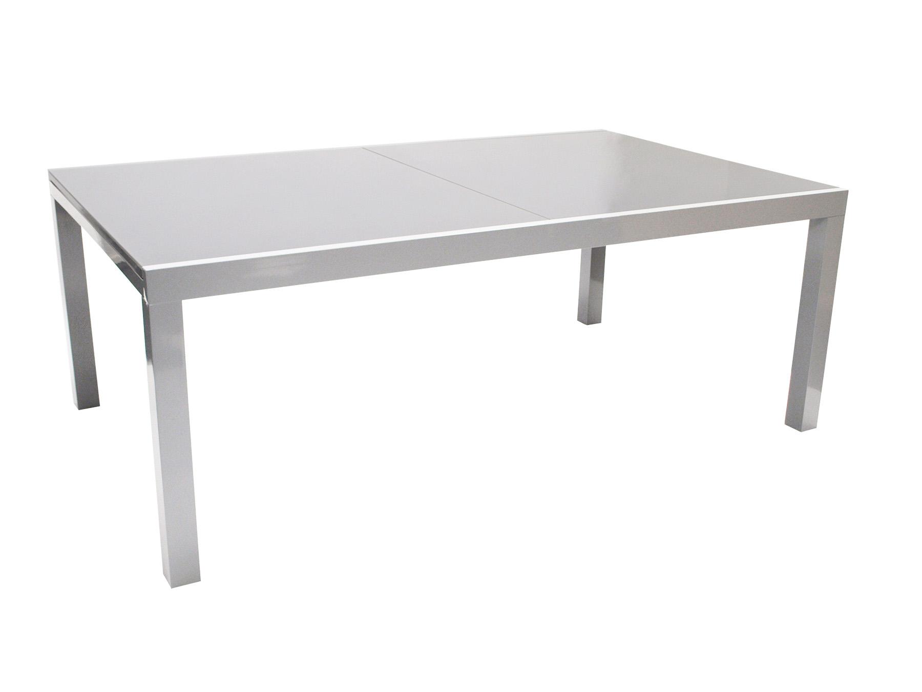 Ausziehtisch MARINA 180/240x100cm, Aluminium + Glas grau