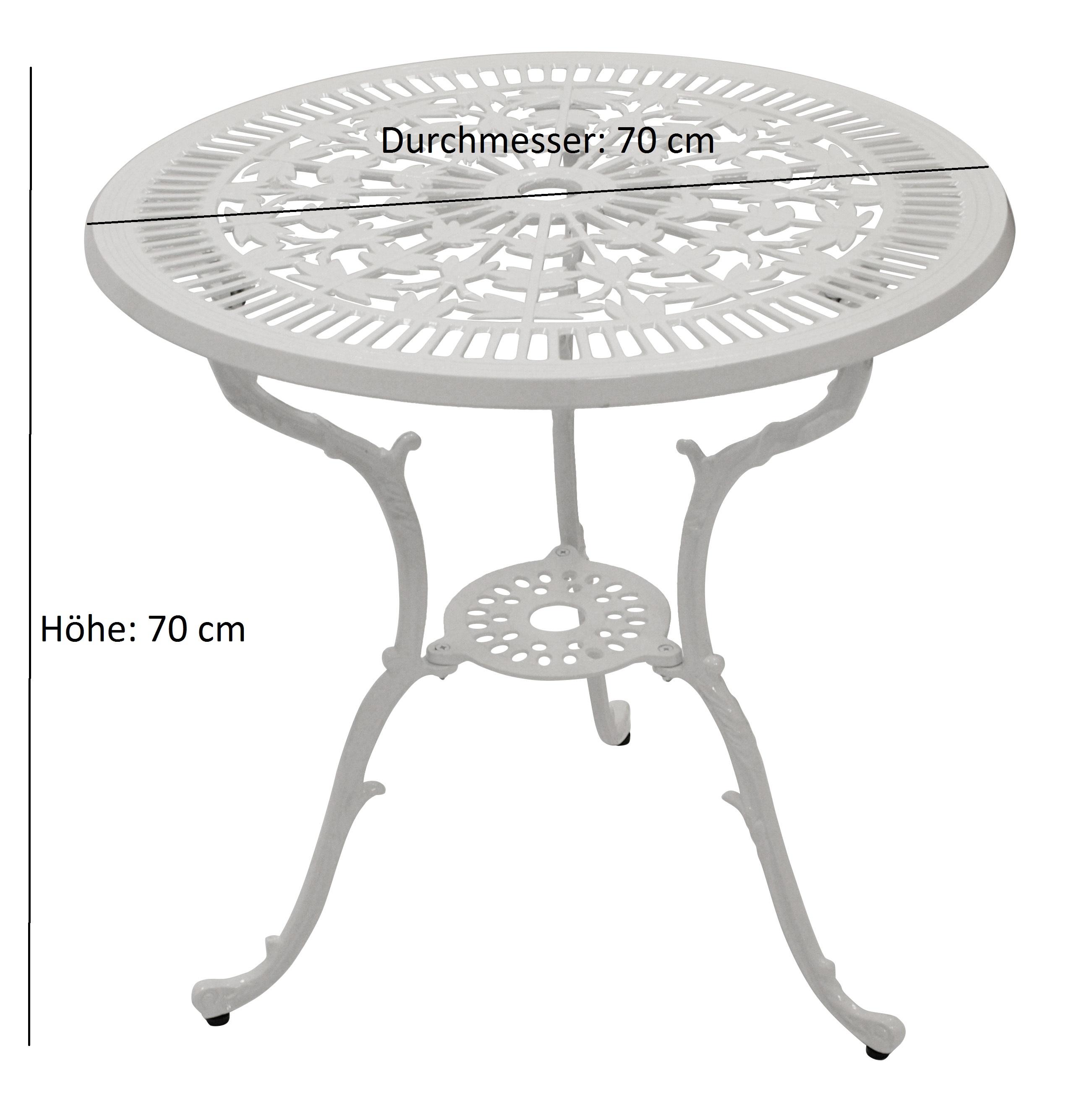 Tisch Jugendstil 70cm rund, Aluguss weiss