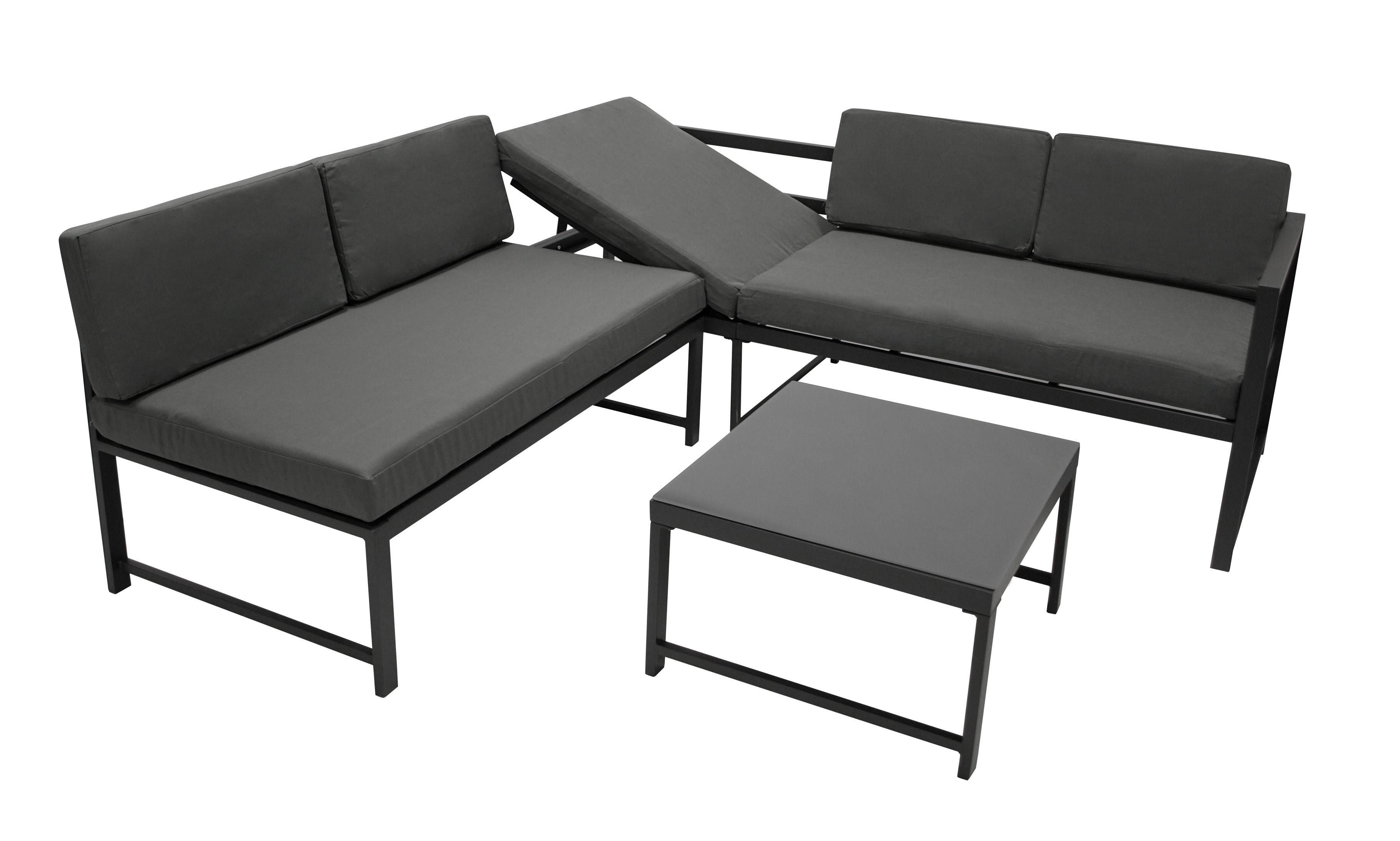 Funktions Lounge Set MONTANA, Metall dunkelgrau, Polster grau
