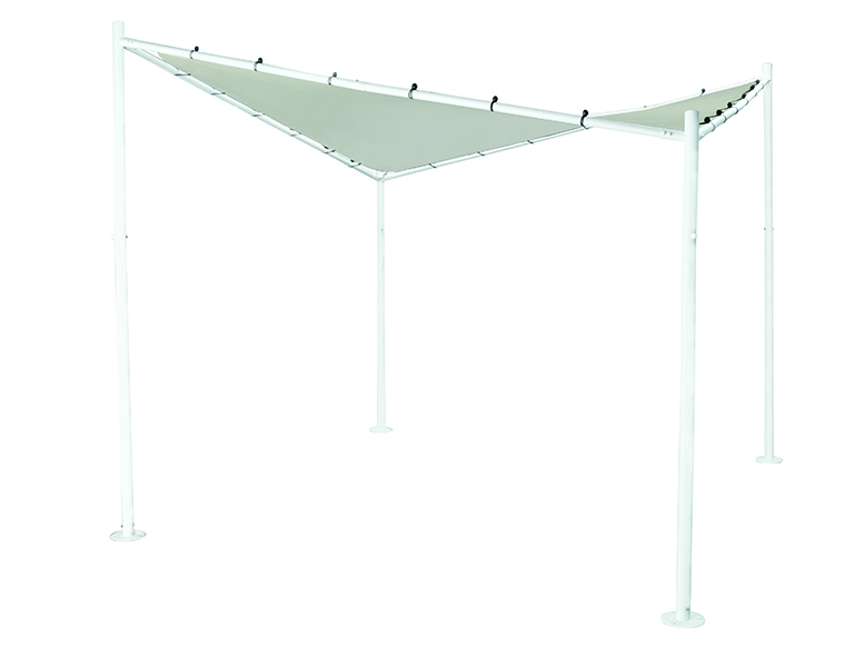 Pavillon BERLINO 3x3 Meter, Gestell weiß mit Plane PU-bechichtet grau