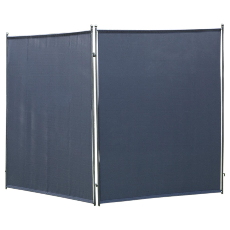 Sichtschutz - Trennwand 150x190cm, Metall + Textilbezug anthrazit, verlängerbar