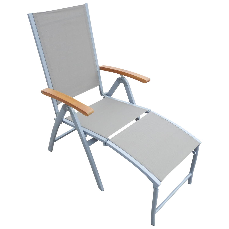Relaxsessel NAXOS Hochlehner, Aluminium hellgrau mit Textilbespannung grau, FSC®-zertifiziert