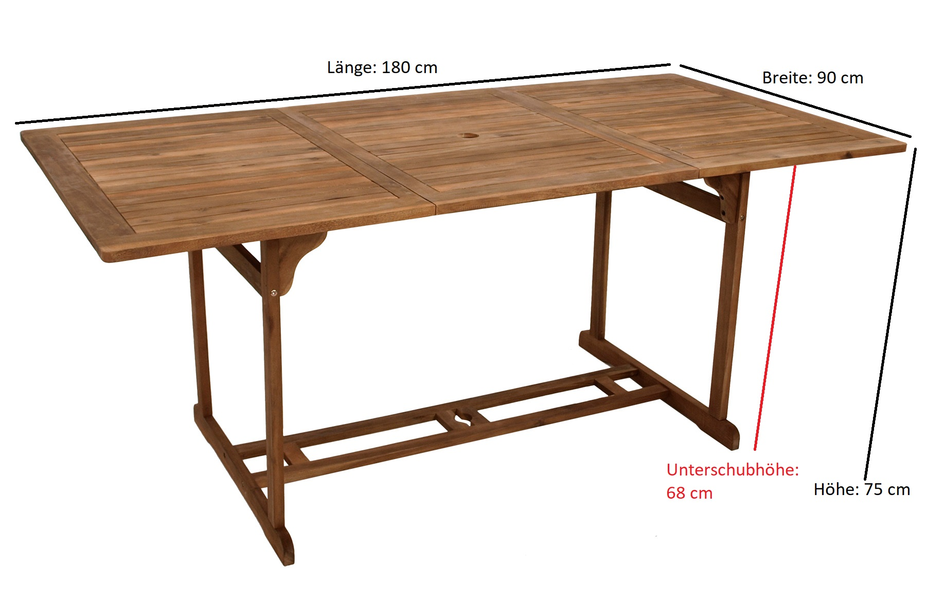 Garnitur MONTREUX 7-teilig, Geflecht schwarz + Akazien Holz, Tisch 90x180cm