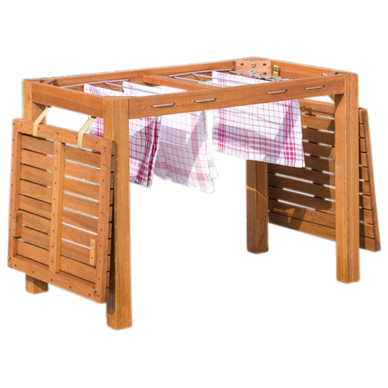Funktions - Gartentisch mit Wäscheständerfunktion, 100x60x75cm, Eukalyptus, FSC®-zertifiziert