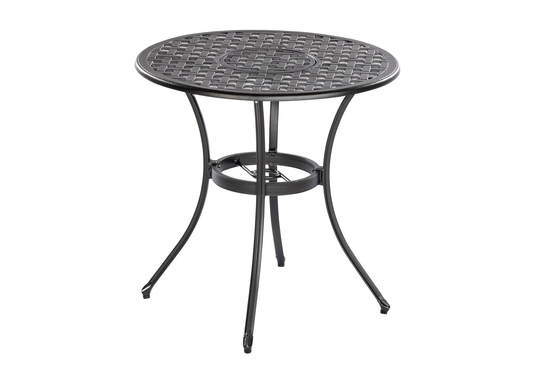 Tisch RHODOS 70cm rund, Aluguss graphit, mit Eiskübel