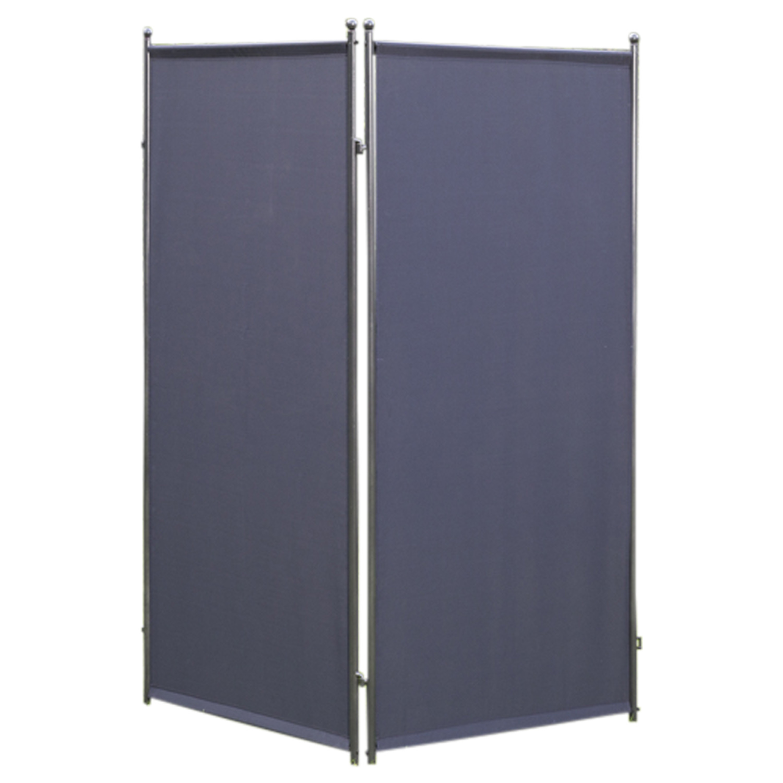Sichtschutz - Trennwand 80x190cm, Metall + Textilbezug anthrazit, verlängerbar