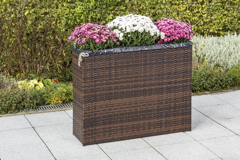Blumenkübel 3-fach hoch 100x80x30cm, Stahl + Polyrattan moccafarben