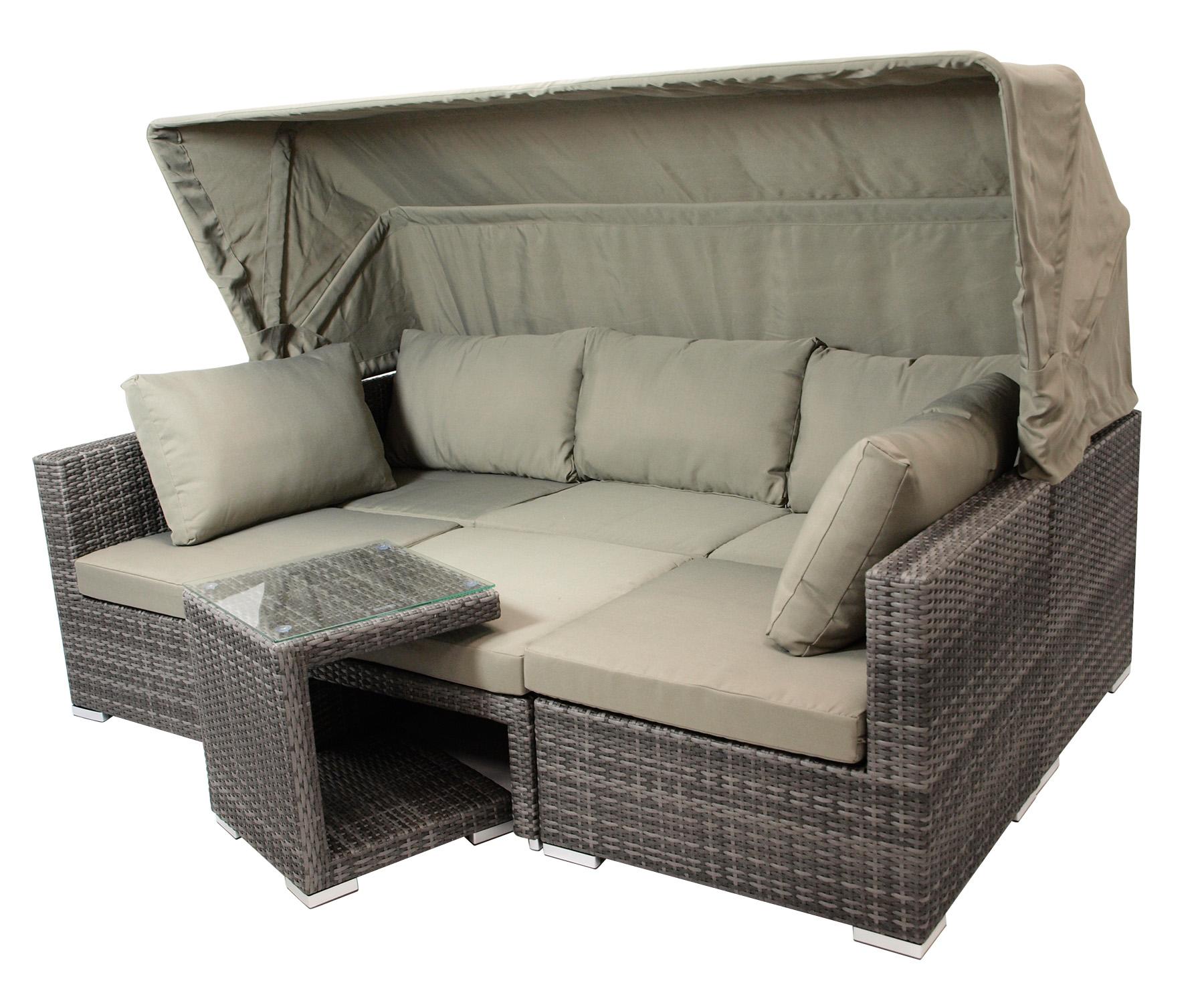 Funktions Lounge Set MANACOR 16-teilig, Alu + Geflecht grau