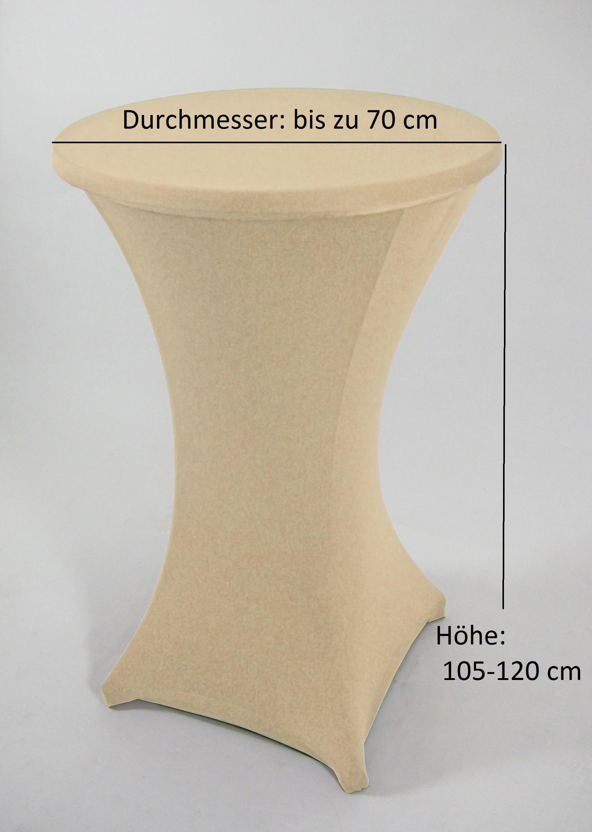 Stretchhussen für Stehtisch bis 70cm, creme