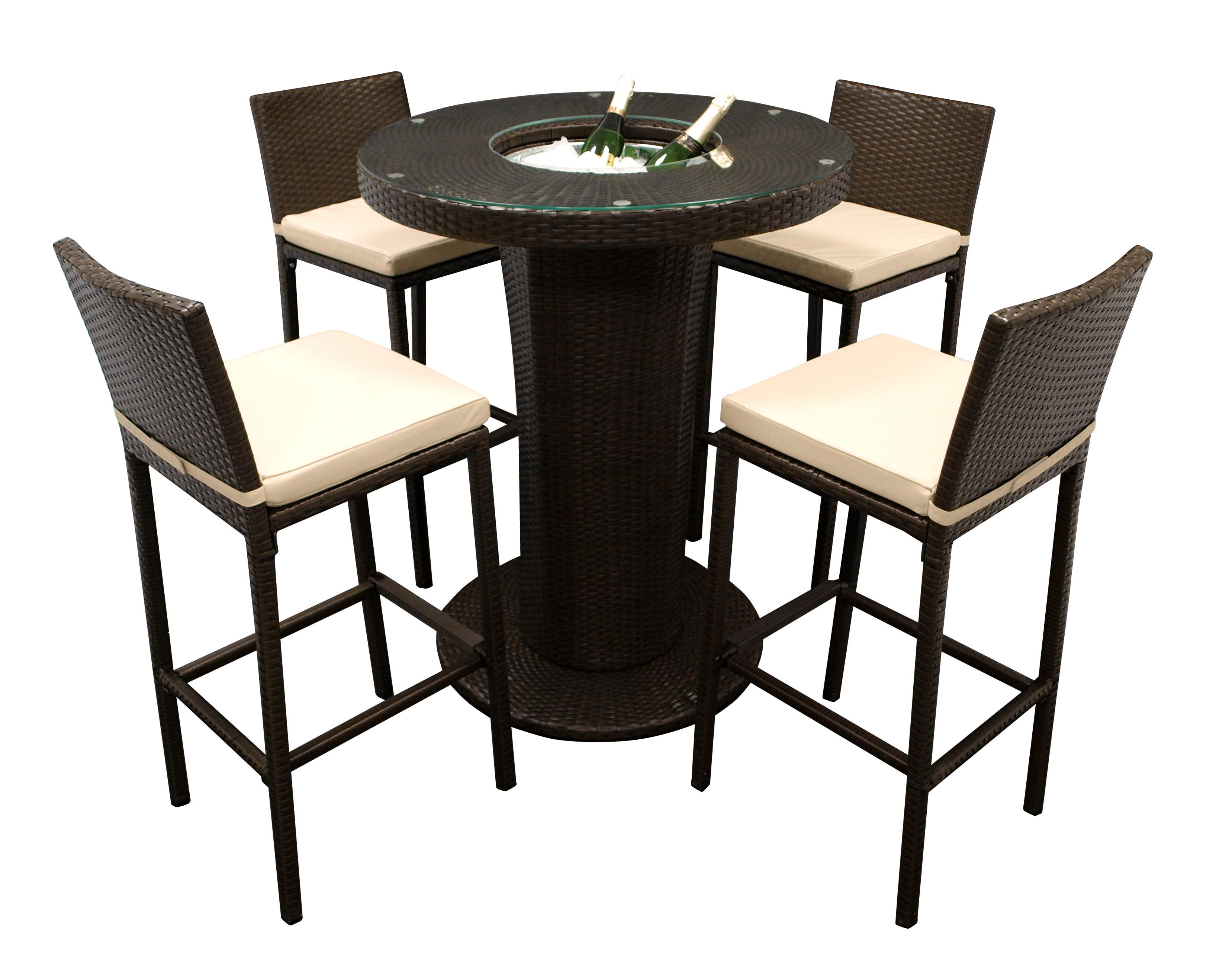Barset IMPERIA 5-teilig, 1x Tisch, 4x Stuhl mit Polster, Alu + Geflecht braun