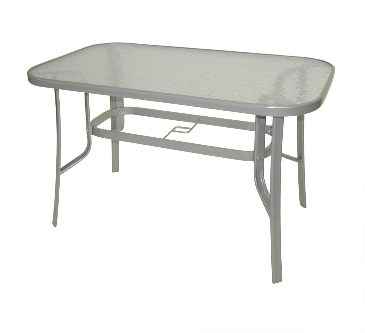 Tisch MILANO 120x70cm, Alu + Glas