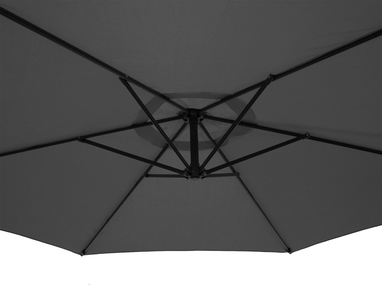 Ampelschirm 300cm rund, Gestell Aluminium, Bezug 100% Polyester grau, 10kg