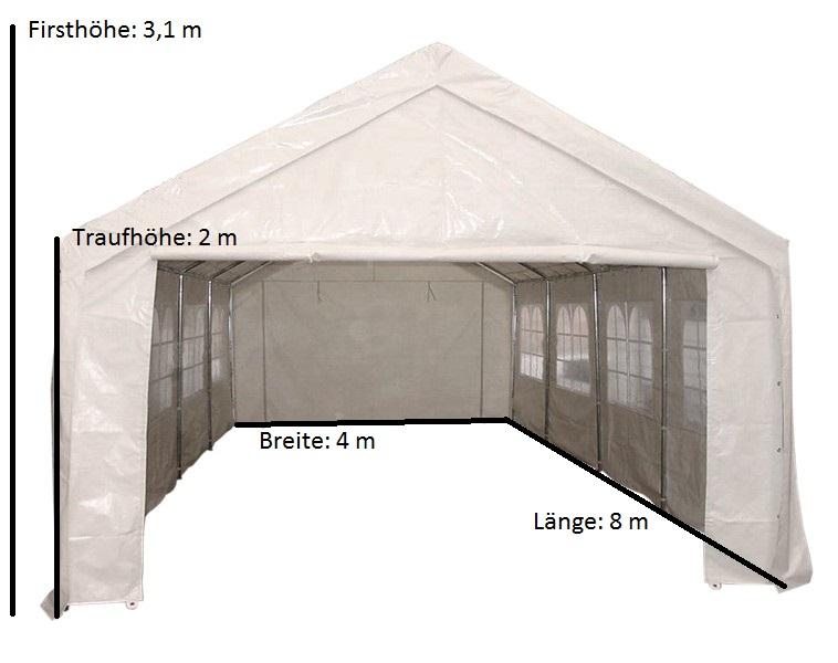 Profi - Zelt PALMA 4x8 Meter, PVC weiss