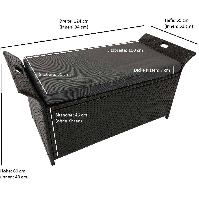 Auflagenbox TRENTO, Metall + Rattan braun, Polster dunkelgrau