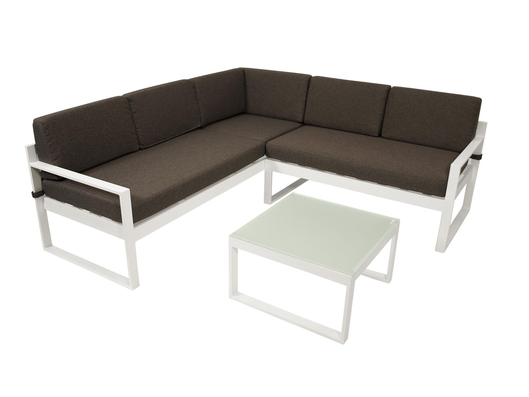 Lounge Set  ARESE, Aluminium weiss, Polster dunkelgrau