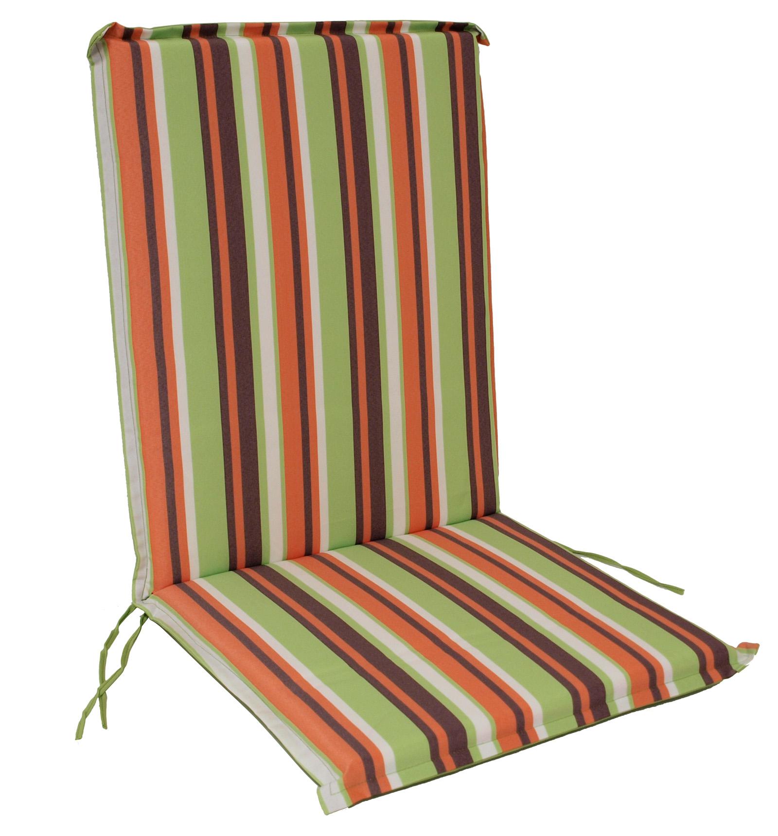 Auflage CAIRO für Stuhl, grün/orange gestreift, 2 Stück