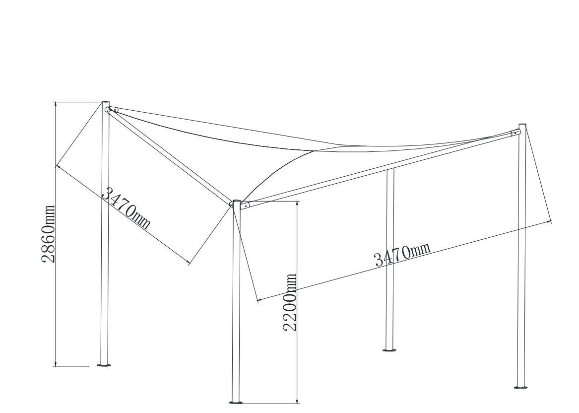 Pavillon Sonnensegel ORLANDO 3,5x3,5  Meter mit Plane PVC-bechichtet weiss