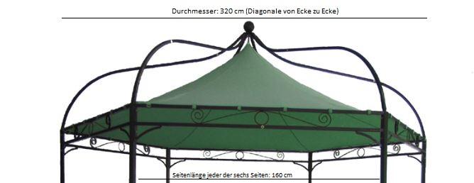Ersatzdach für Pavillon MODENA, Polyester PVC-beschichtet grün