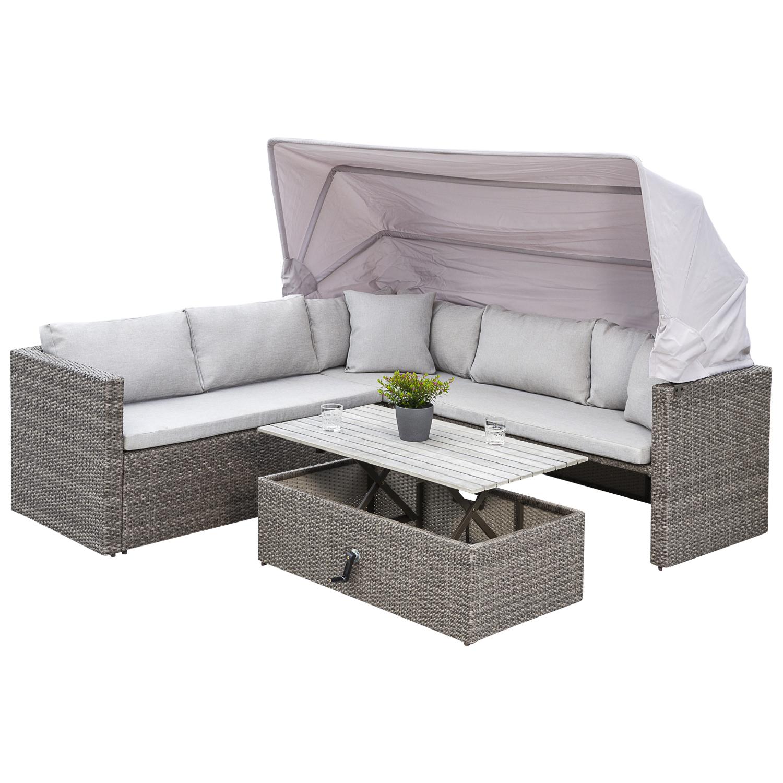 Funktions Lounge Ecksofa SAN MARCO mit Faltdach, Metall + Polyrattan grau