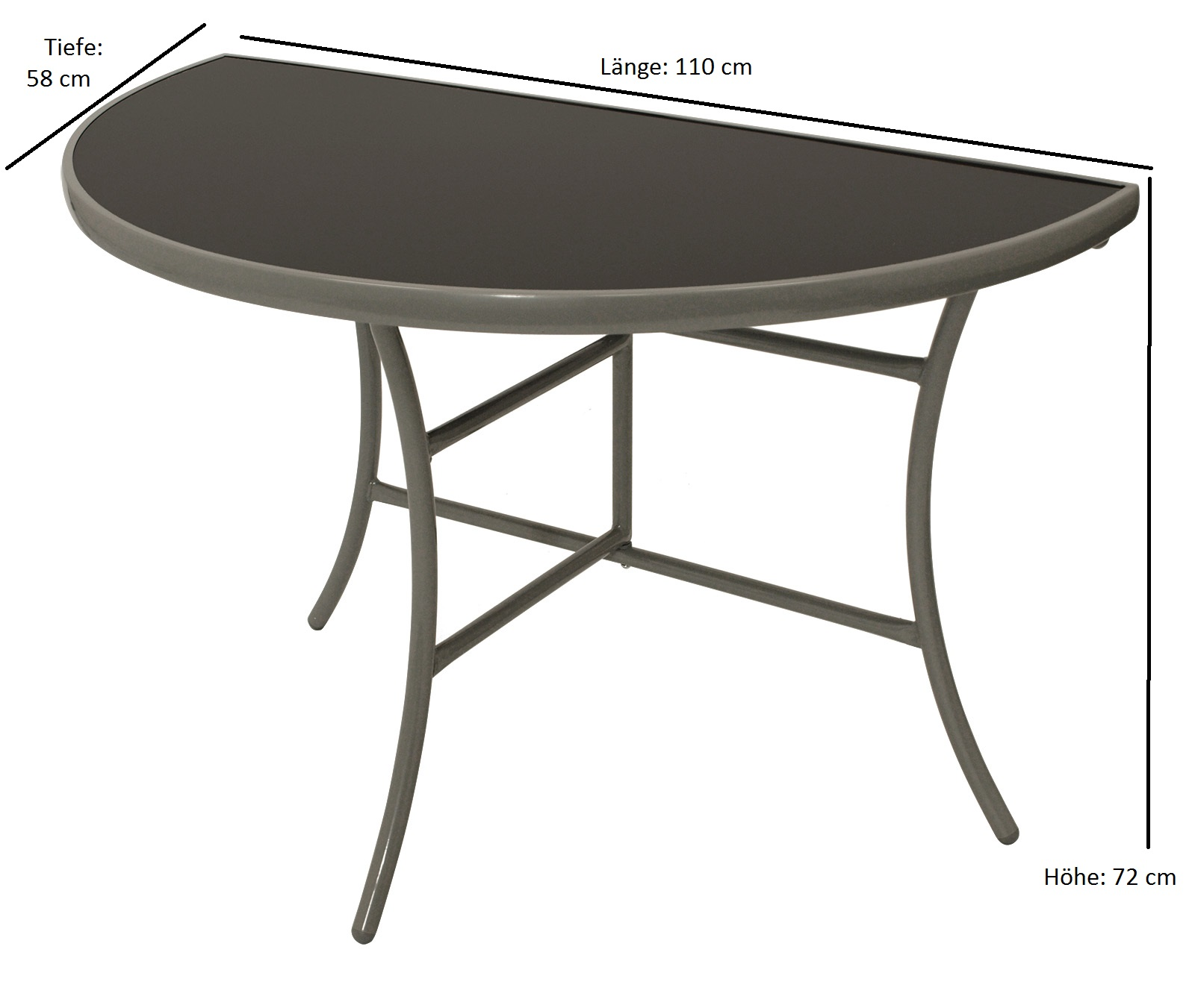 Wandtisch PALERMO halbrund 58x110cm, Stahl + Glas