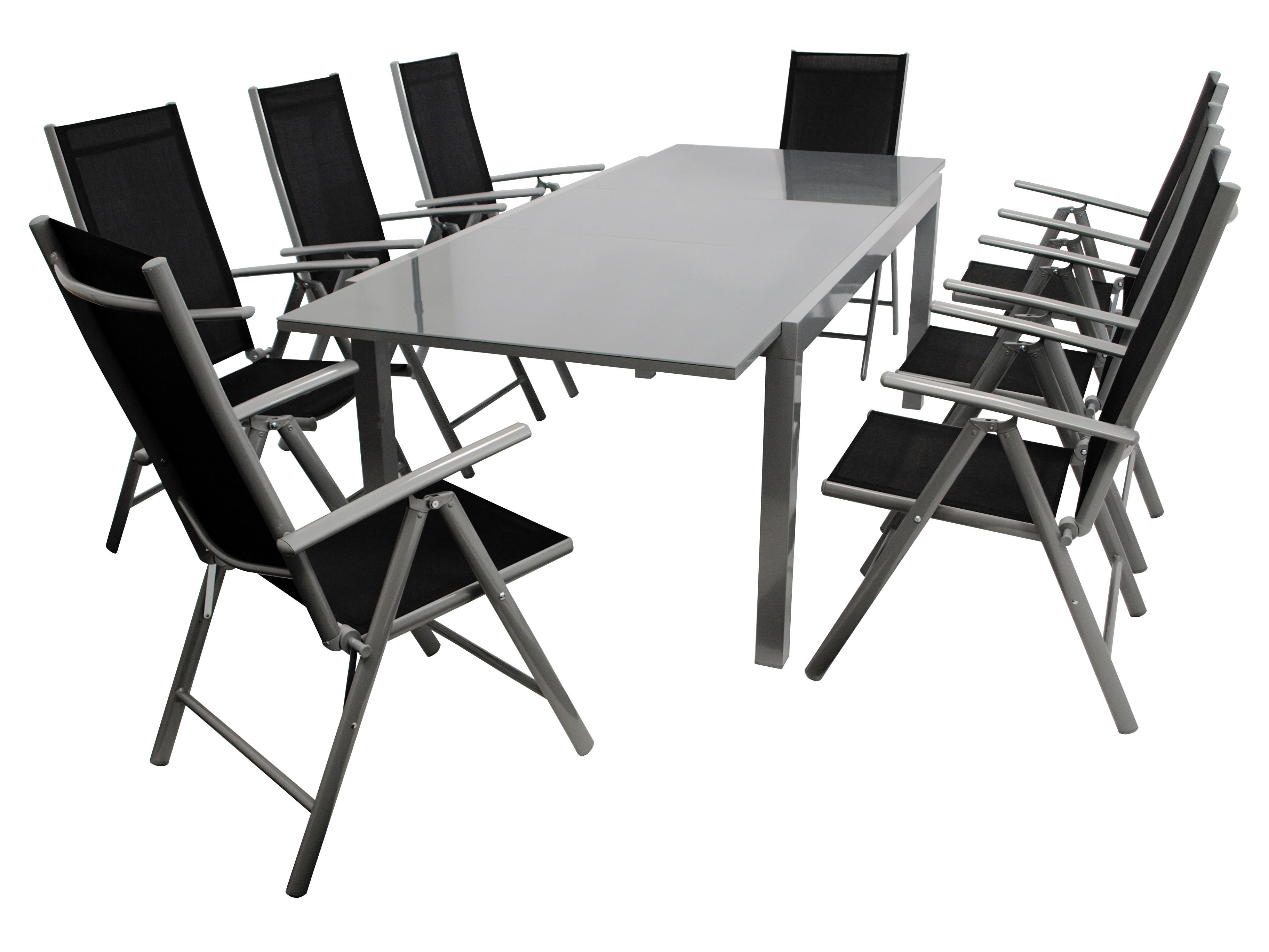 Garnitur RAVENNA 9-teilig, Aluminium + Kunstgewebe schwarz
