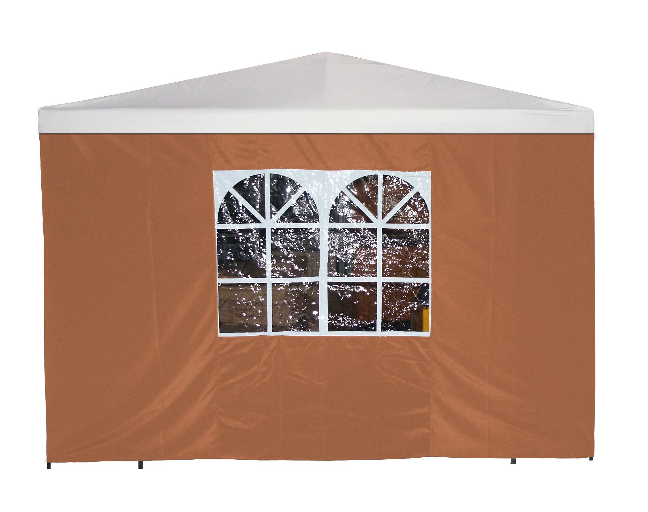 Seitenplane für Pavillon, 3x1,9 Meter, Polyester terracotta mit Fenster