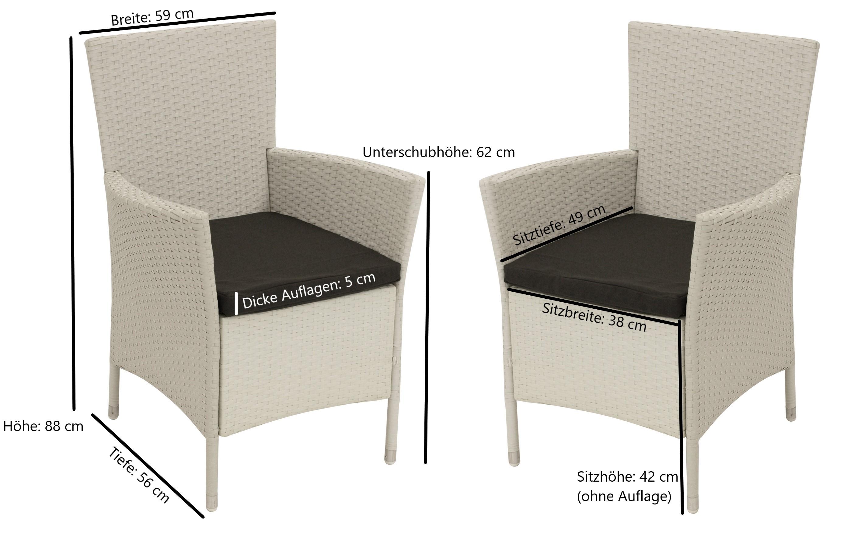 Sessel  VIGO, Stahl + Polyrattan weiß, mit Auflage, 2 Stück