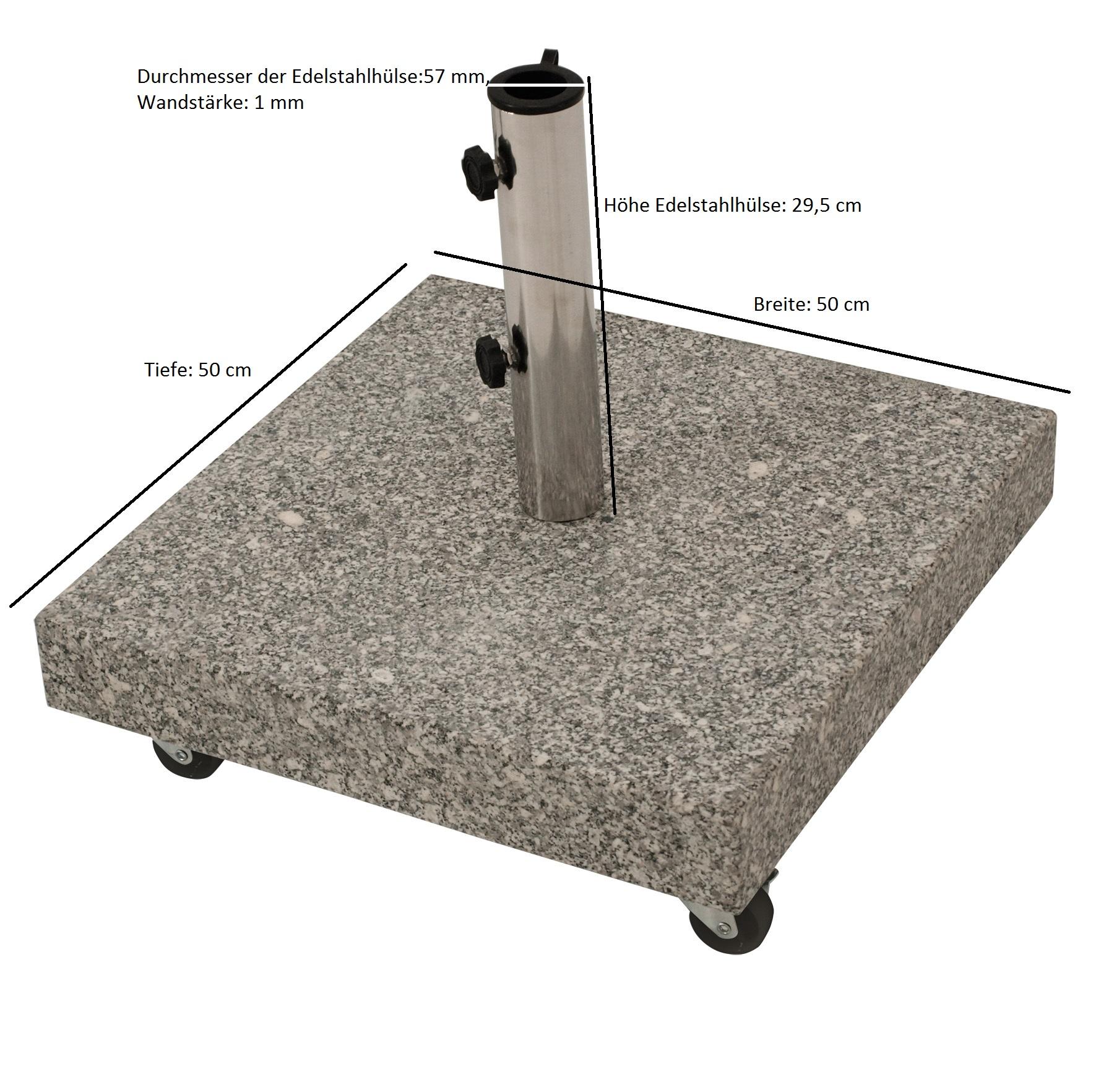 Schirmständer 50kg eckig, Granit hellgrau, mit Rollen
