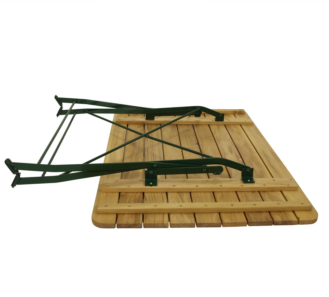 Klapptisch BAD TÖLZ 70x110cm rechteckig, Flachstahl grün + Robinie