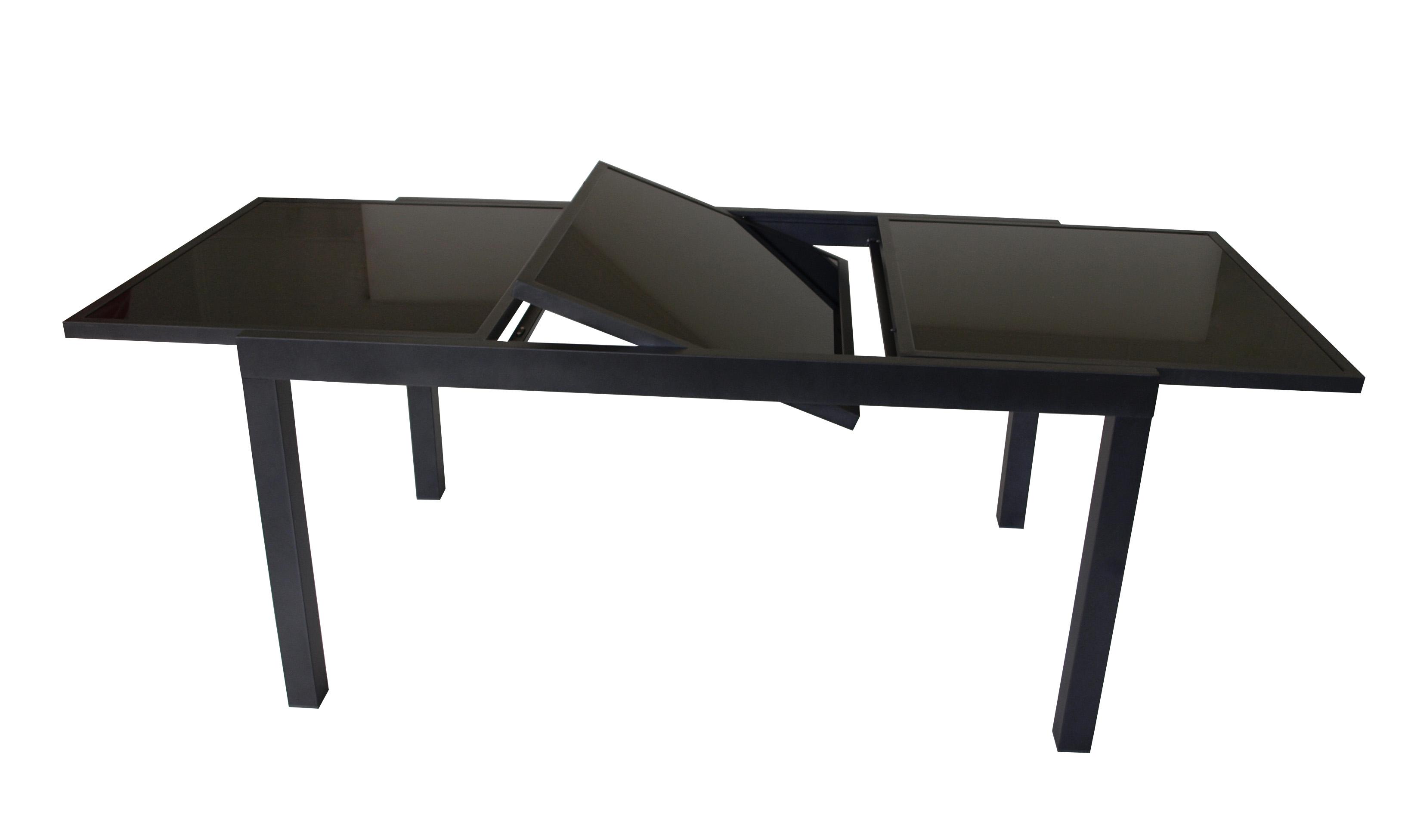 Ausziehtisch TORINO 150/210x90cm, Aluminium + Glas schwarz