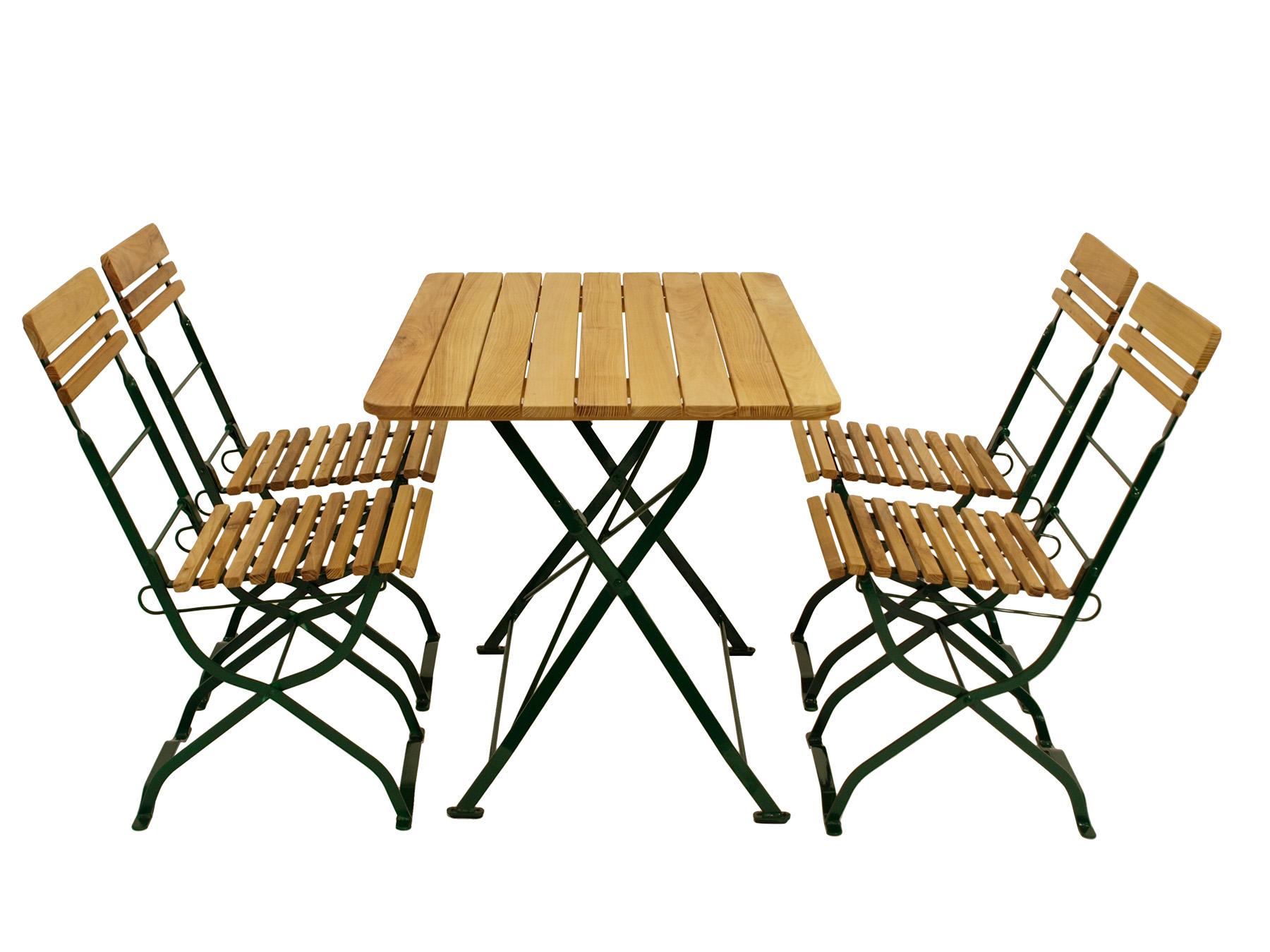 Biergarten - Garnitur MÜNCHEN 5-teilig, Flachstahl grün + Robinie