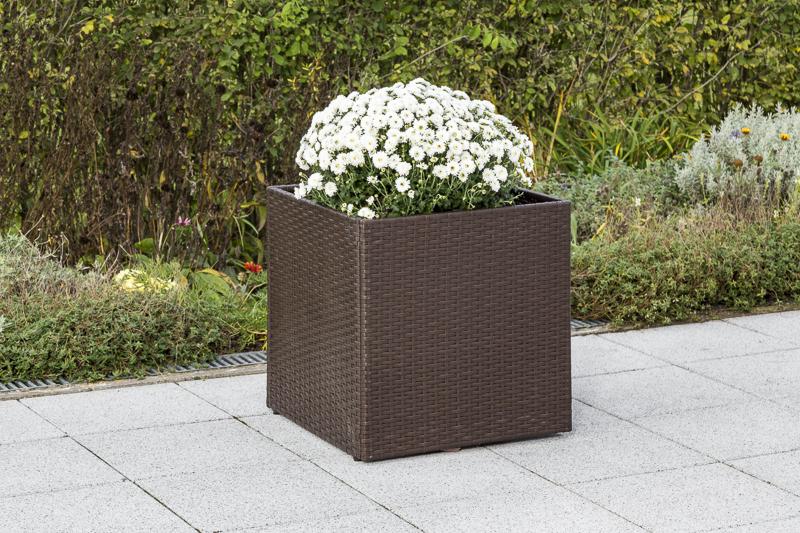 Blumenkübelabdeckung Stahl + Geflecht braun, kleine Ausführung 32x32x32cm