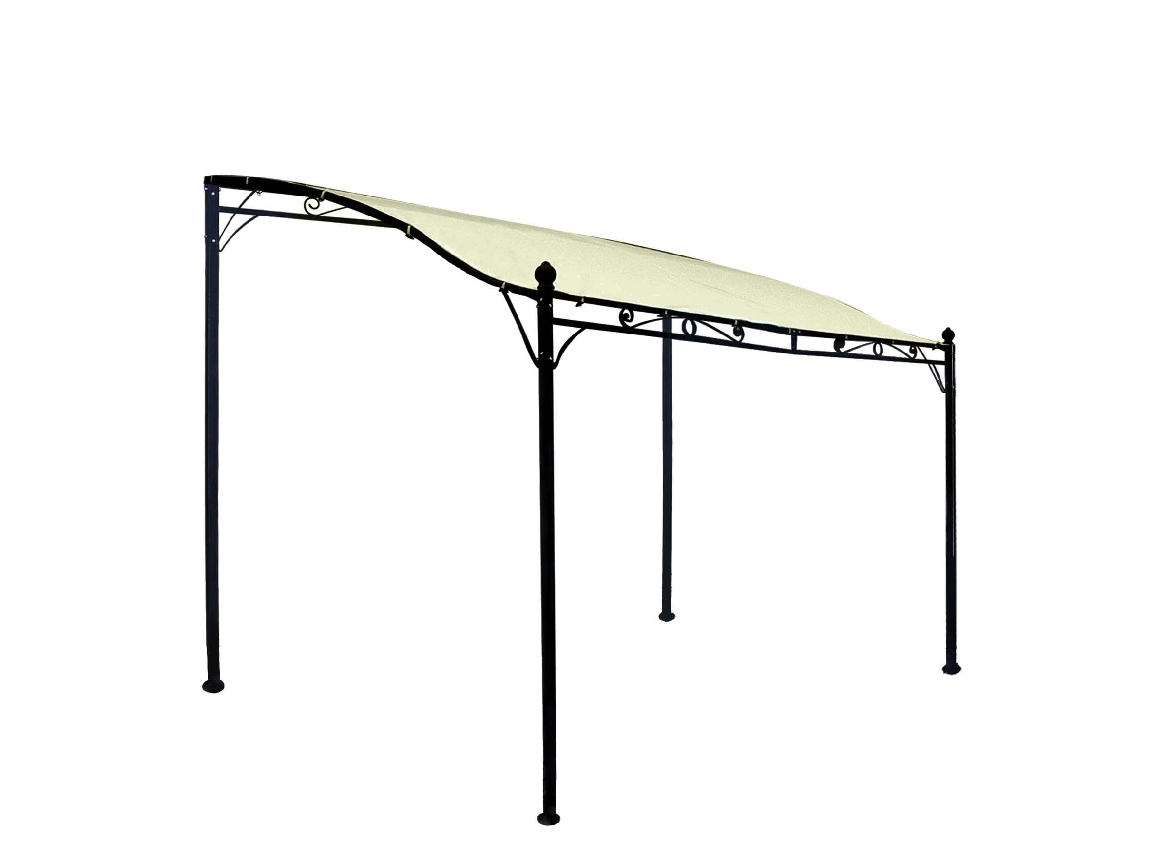 Anbaupavillon MANTOVA 3x2,5 Meter, Stahl dunkel, Plane PVC-beschichtet écru