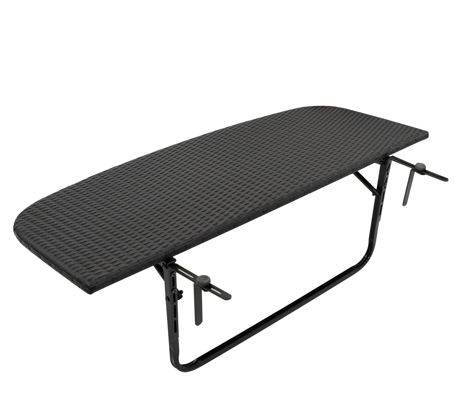 Balkonhängetisch 120x40cm, Metall + Polyrattan schwarz