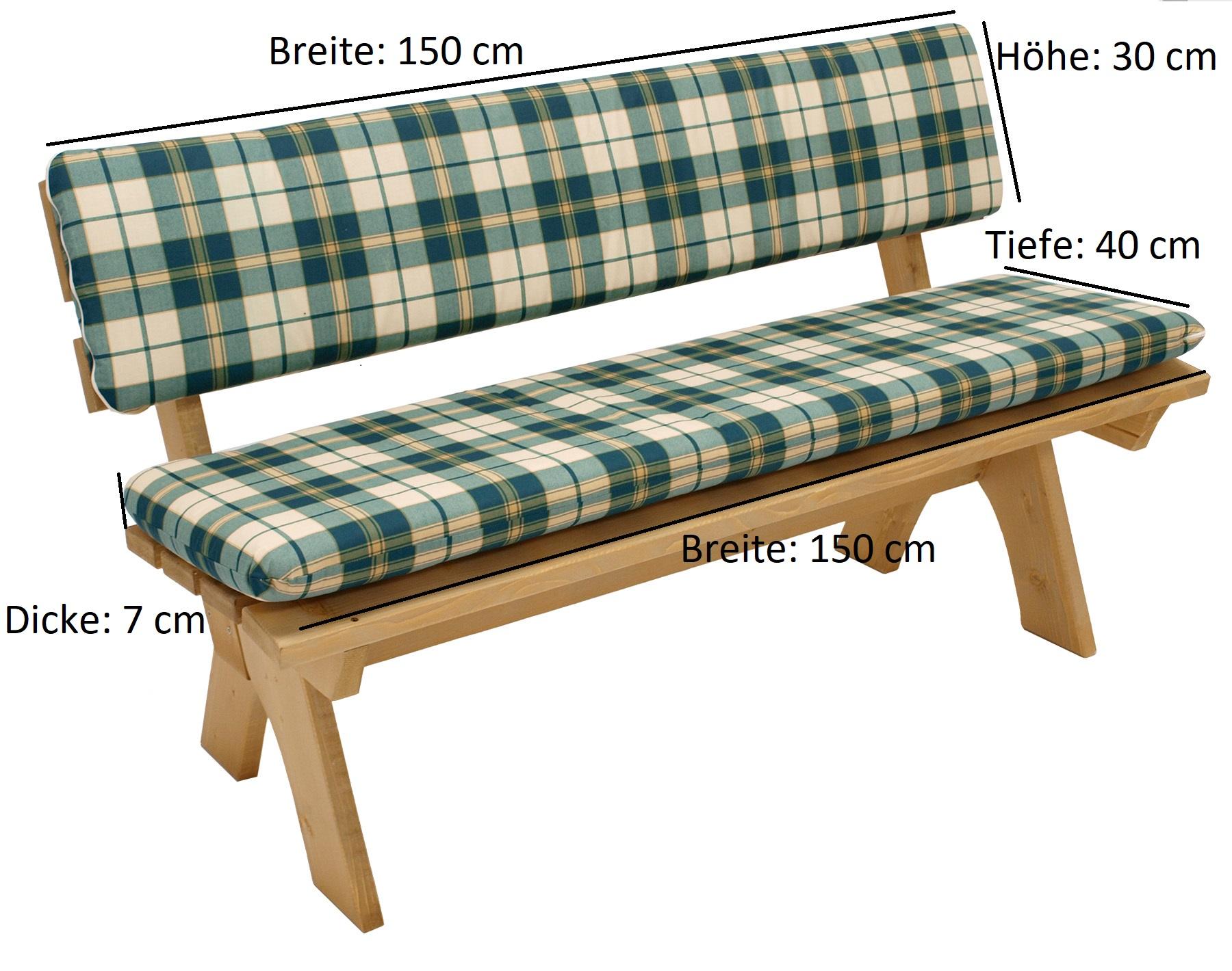 Auflagenset BOSTON für Bank 3-sitzer 150cm, grün/beige kariert, 2-teilig