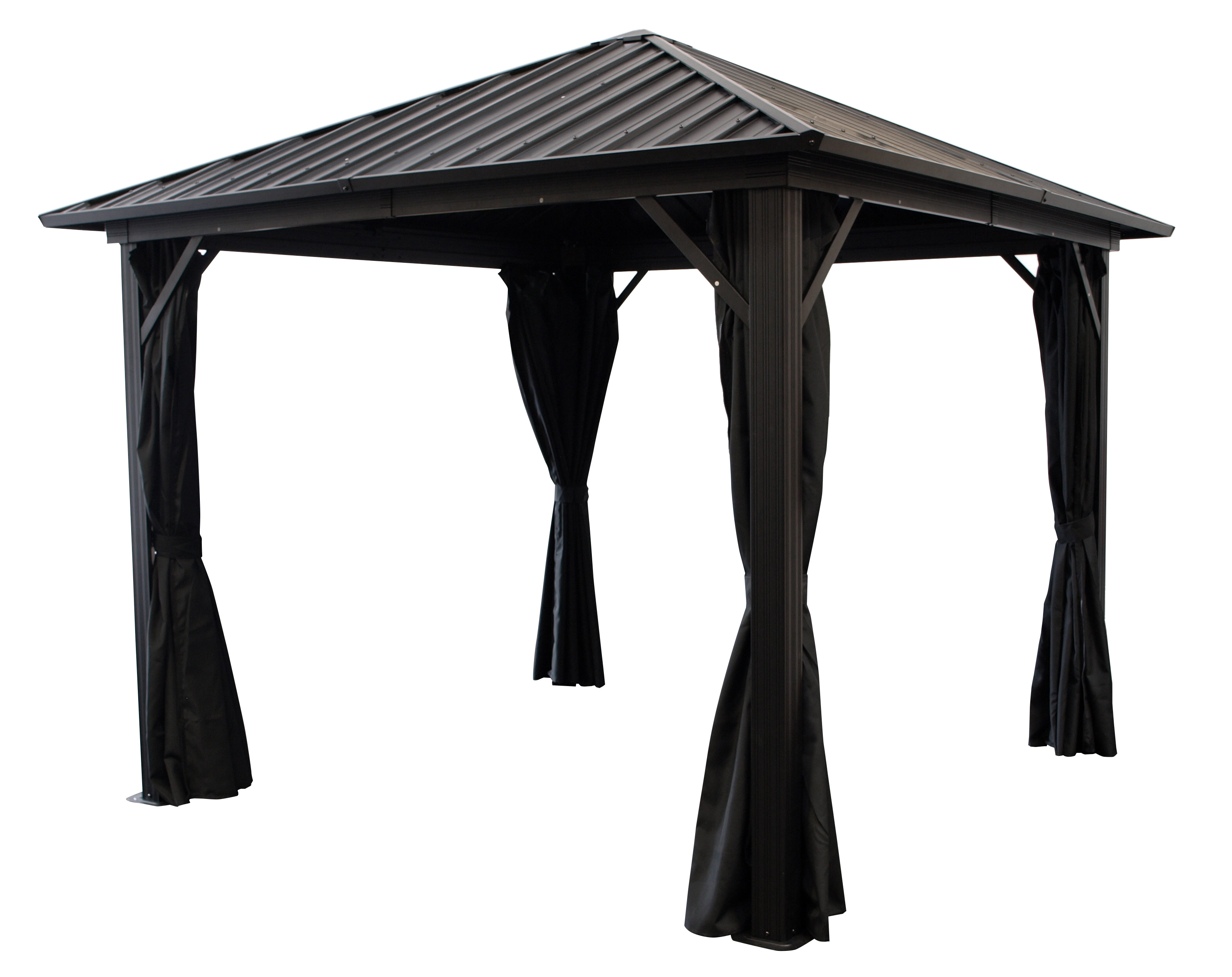 Pavillon NOVARA  3x3 Meter, Aluminium schwarz, Dach aus verzinktem Metall