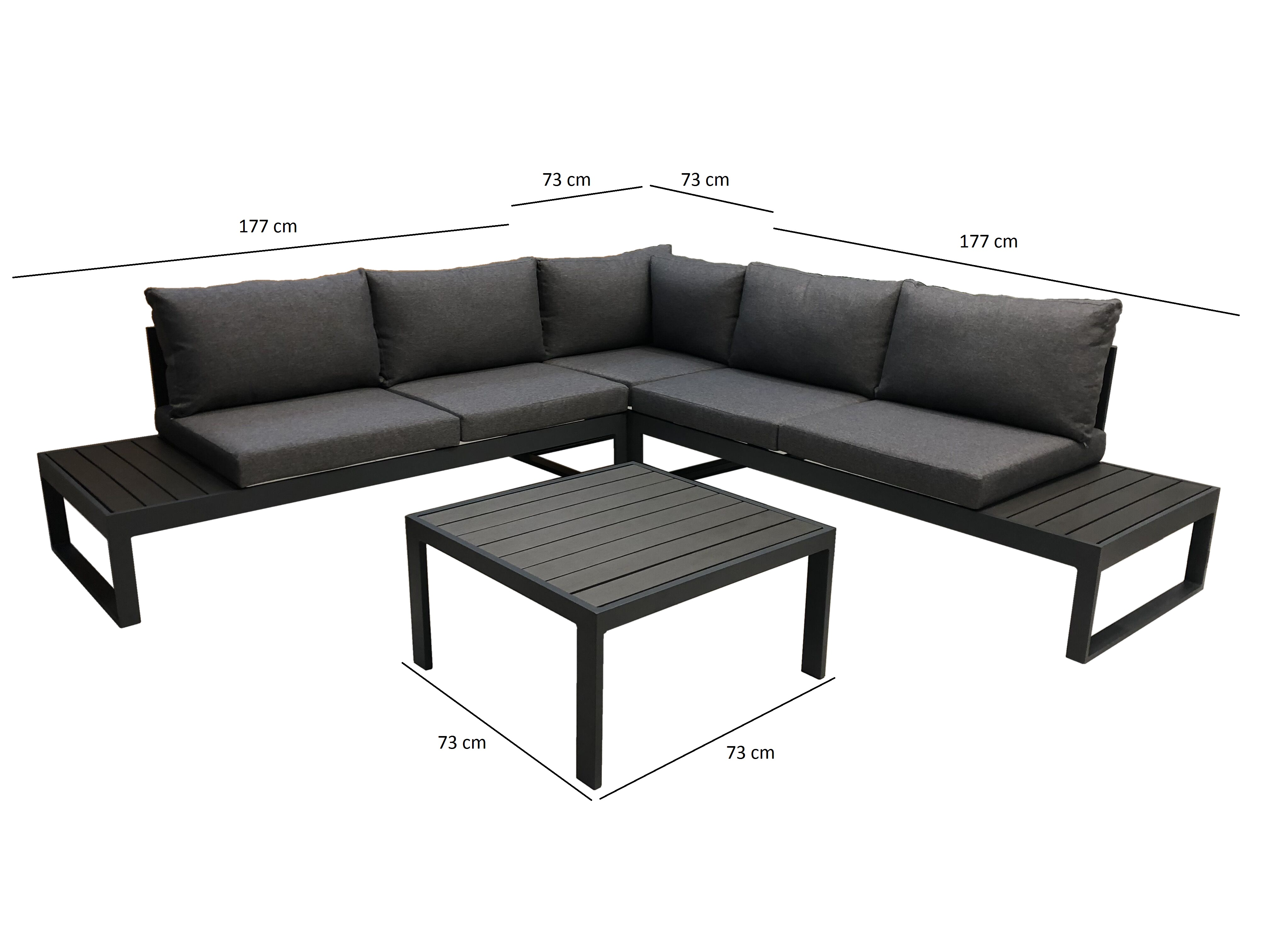 Lounge Set  CAVOUR, Aluminium anthrazit, Polster grau
