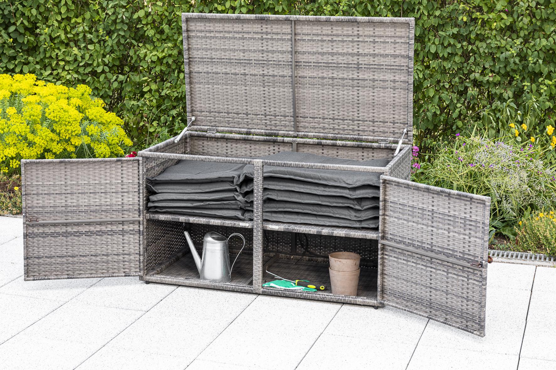 Auflagenbox RIVA, Metall + Polyrattan grau, 120x64cm