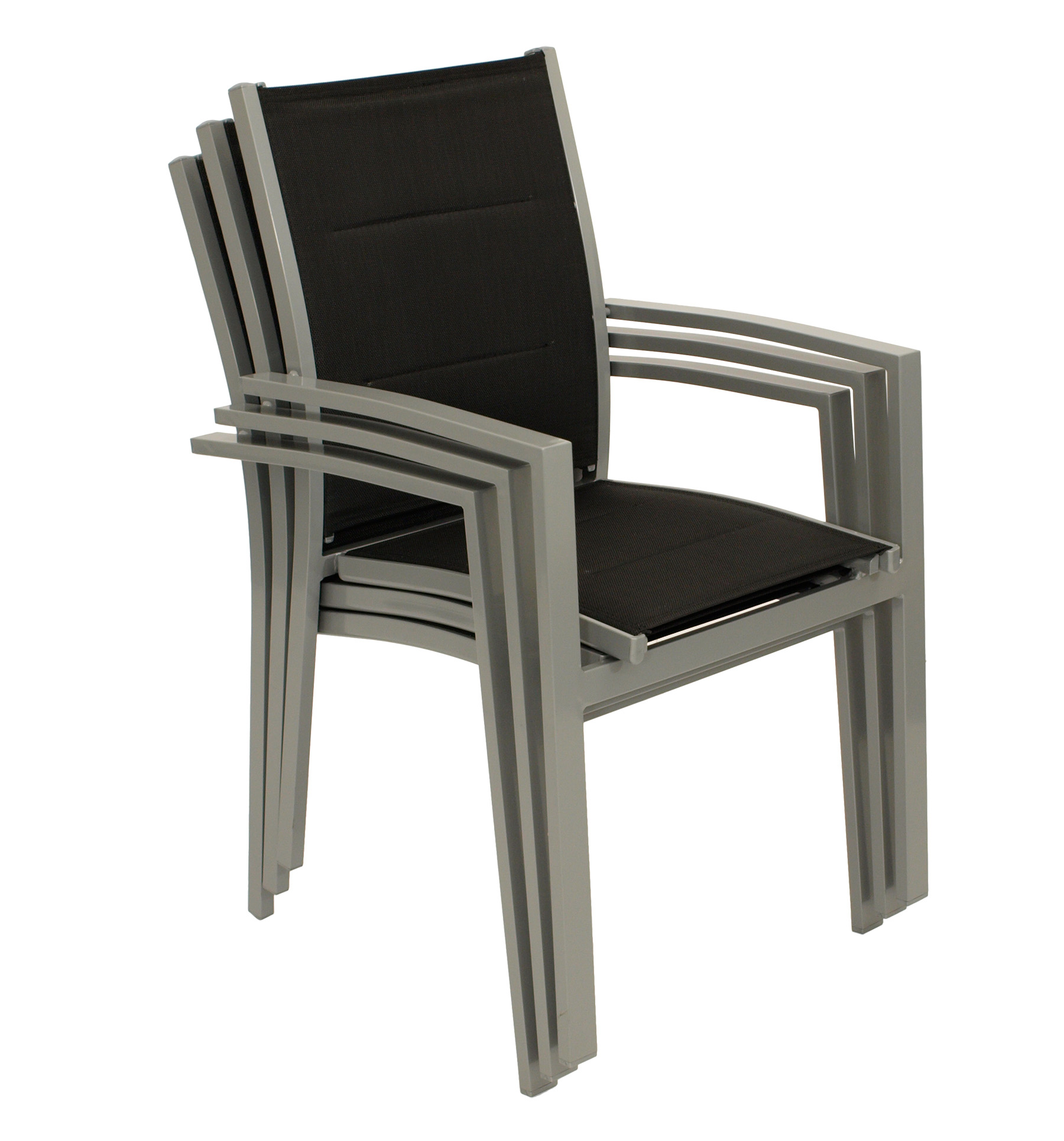 Garnitur RIVERA 5-teilig, Aluminium + Kunstgewebe schwarz
