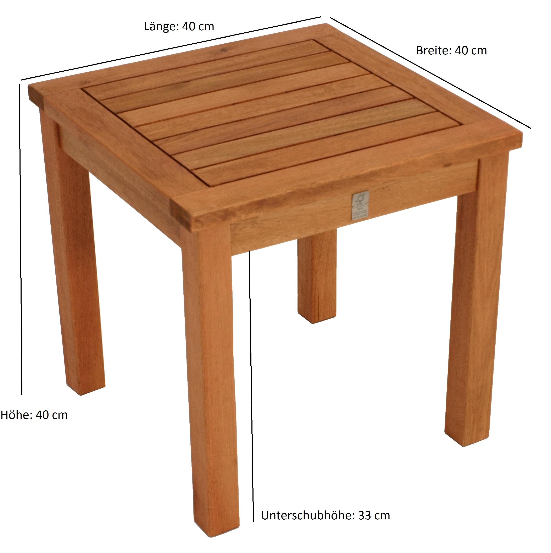 Beistelltisch VAREDERO 40x40x40cm, Eukalyptus geölt, FSC®-zertifiziert