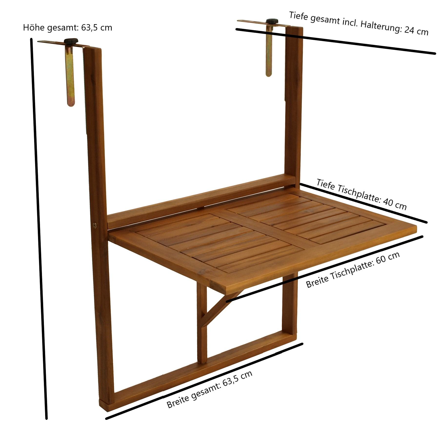Balkonhängetisch 60x40cm, Akazie geölt, verstellbare Halterung, FSC®-zertifiziert