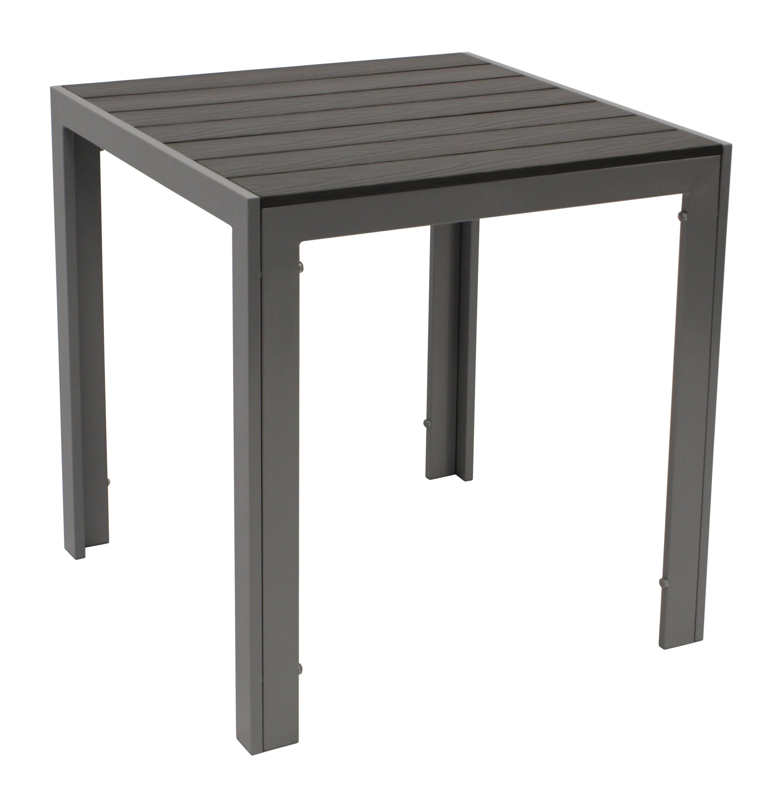 Tisch SORANO 70x70cm, Alu + Polywood grau