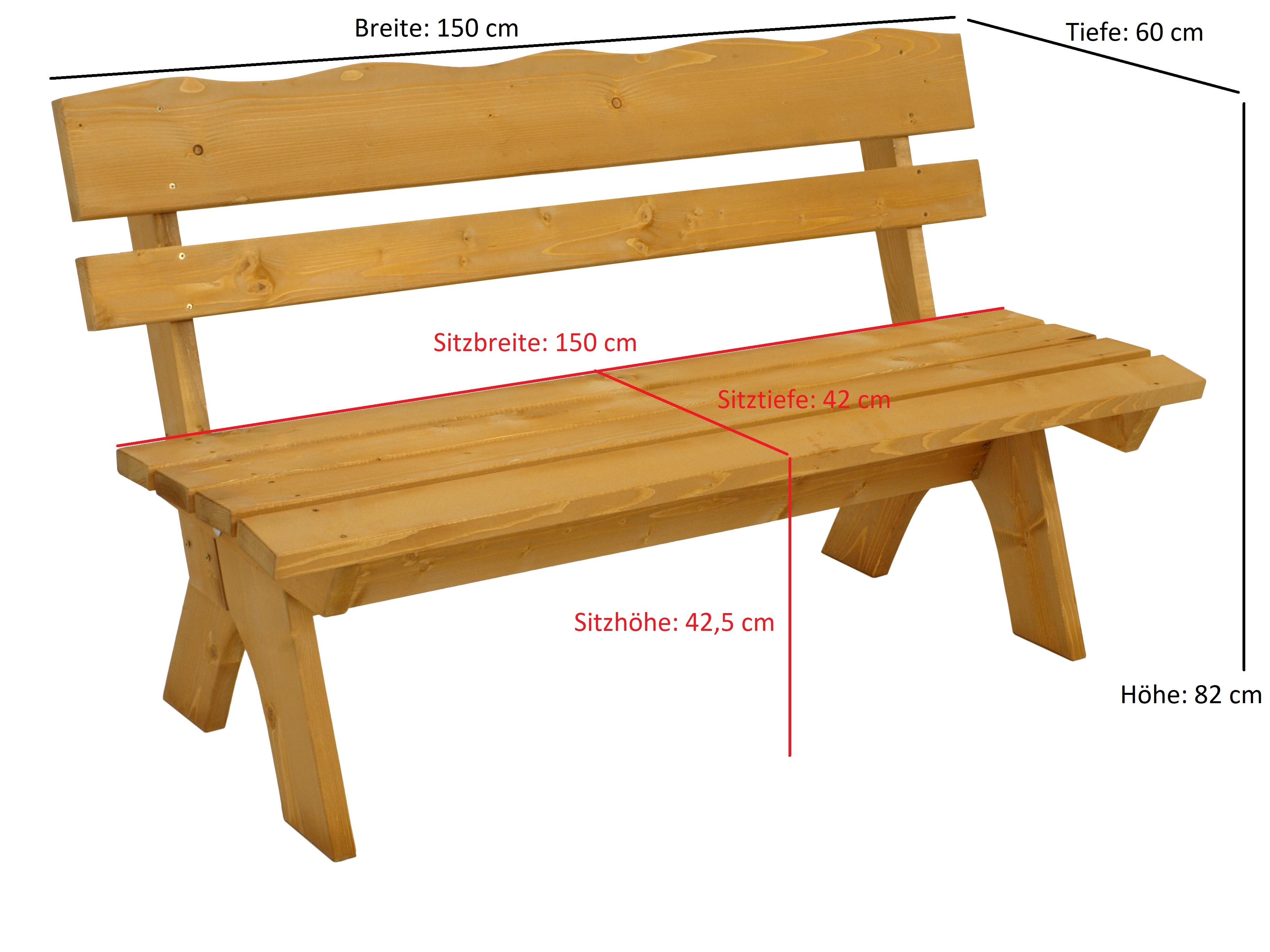 Garnitur FREITAL 2-teilig 150cm, Kiefer imprägniert