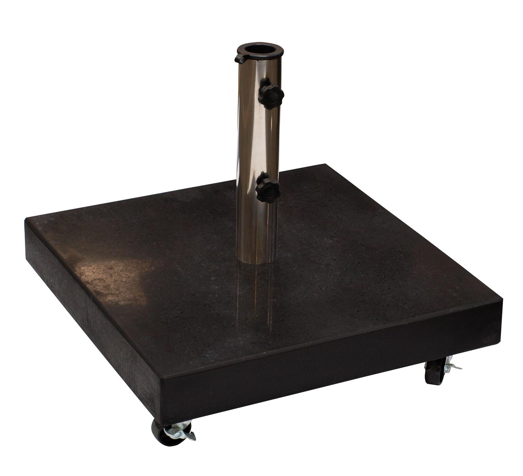 Schirmständer 50kg eckig, Granit schwarz, mit Rollen