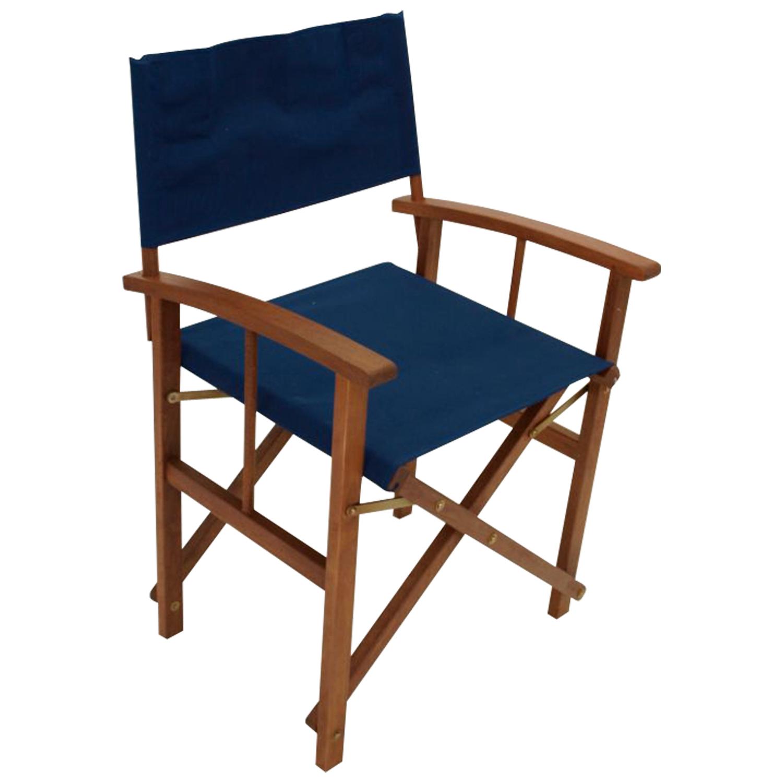 Regiesessel SPRINGFIELD 2-er Set, Eukalyptusholz, Bezug dunkelblau, FSC®-zertif