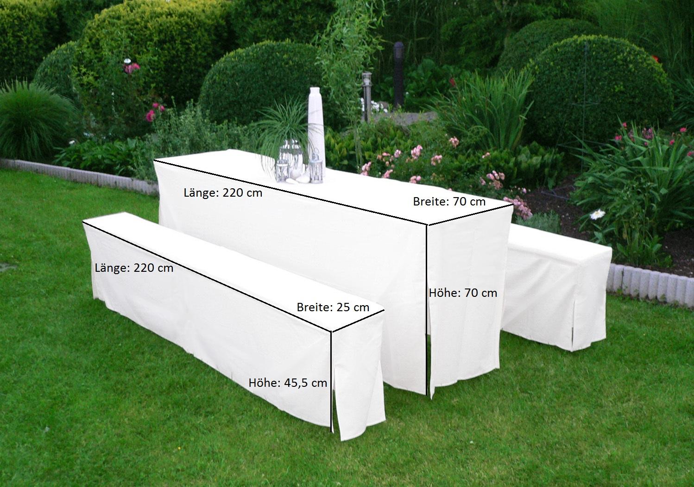 Hussen-Set für Festzeltgarnitur mit 70cm-Tisch, gepolstert, weiss