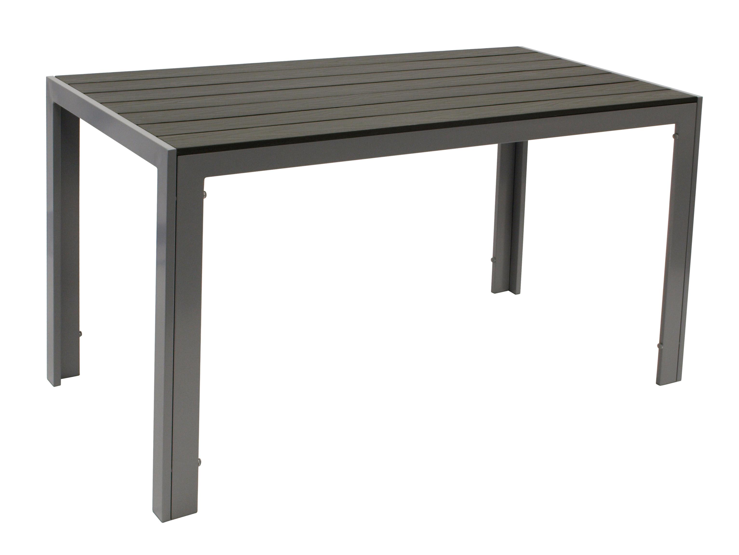 Tisch SORANO 125x70cm, Alu + Polywood grau